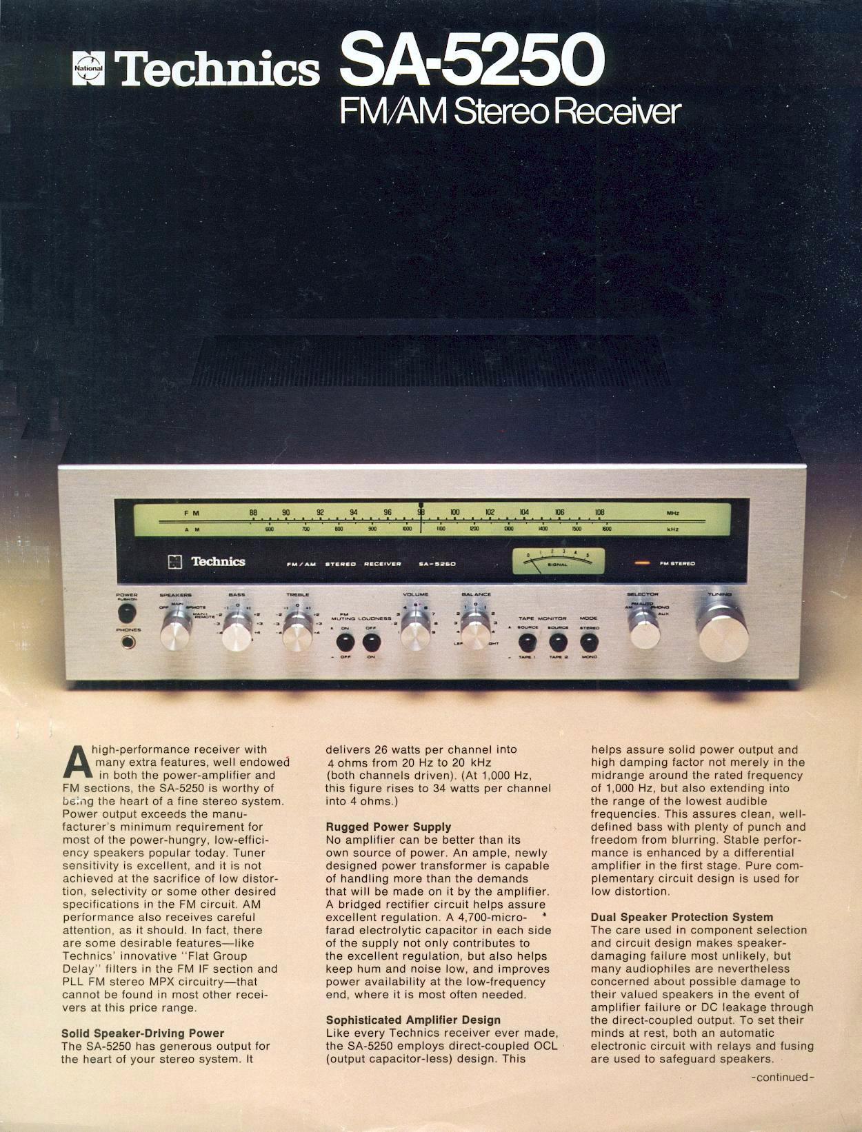 Technics Sa 5250 Direct Coupled Radio Prospekt 1