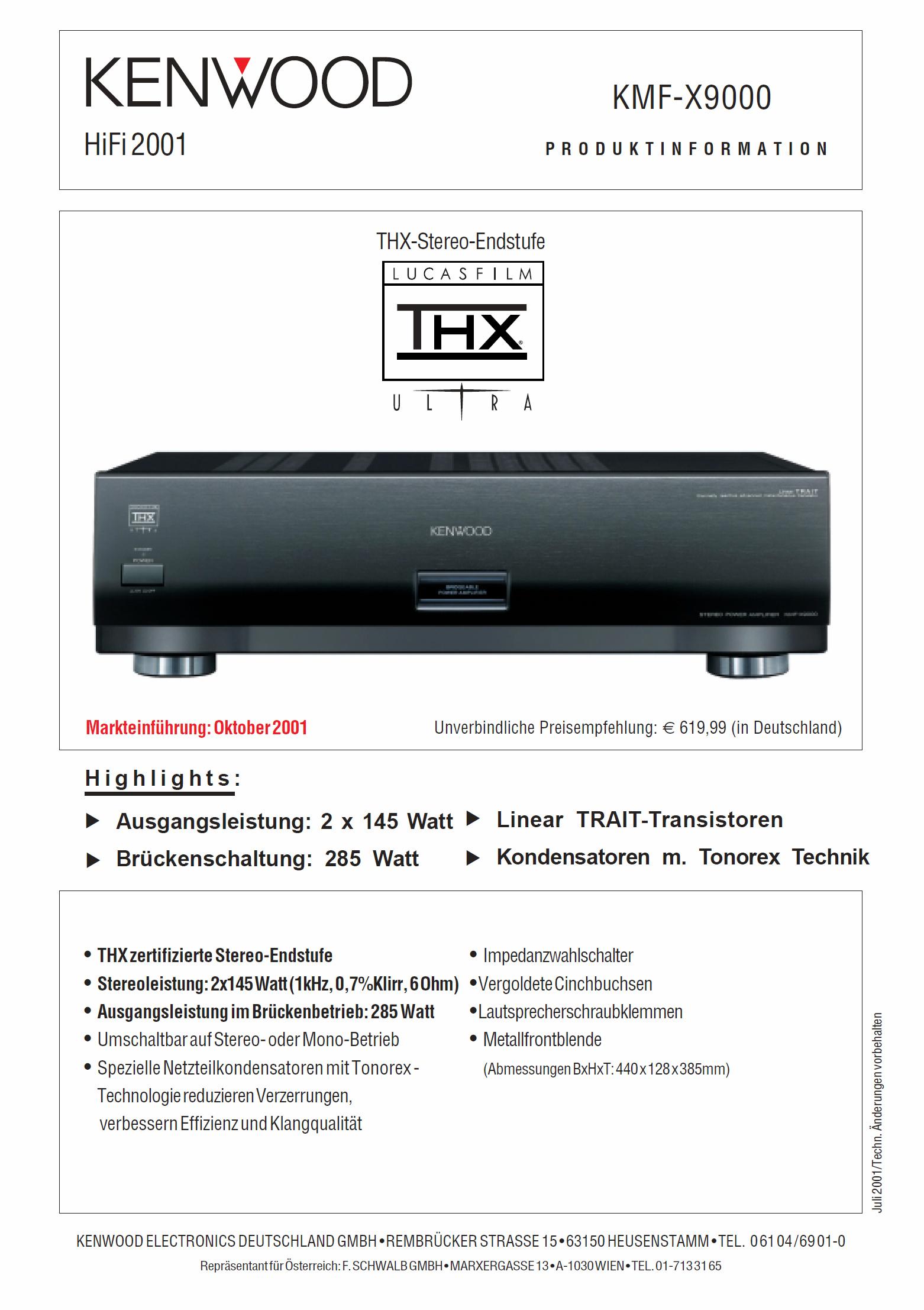 Kenwood Katalog Prospekt 2002///'03 KRF-X9995D KMF-X9000 DVF-J6050 DVT-8100