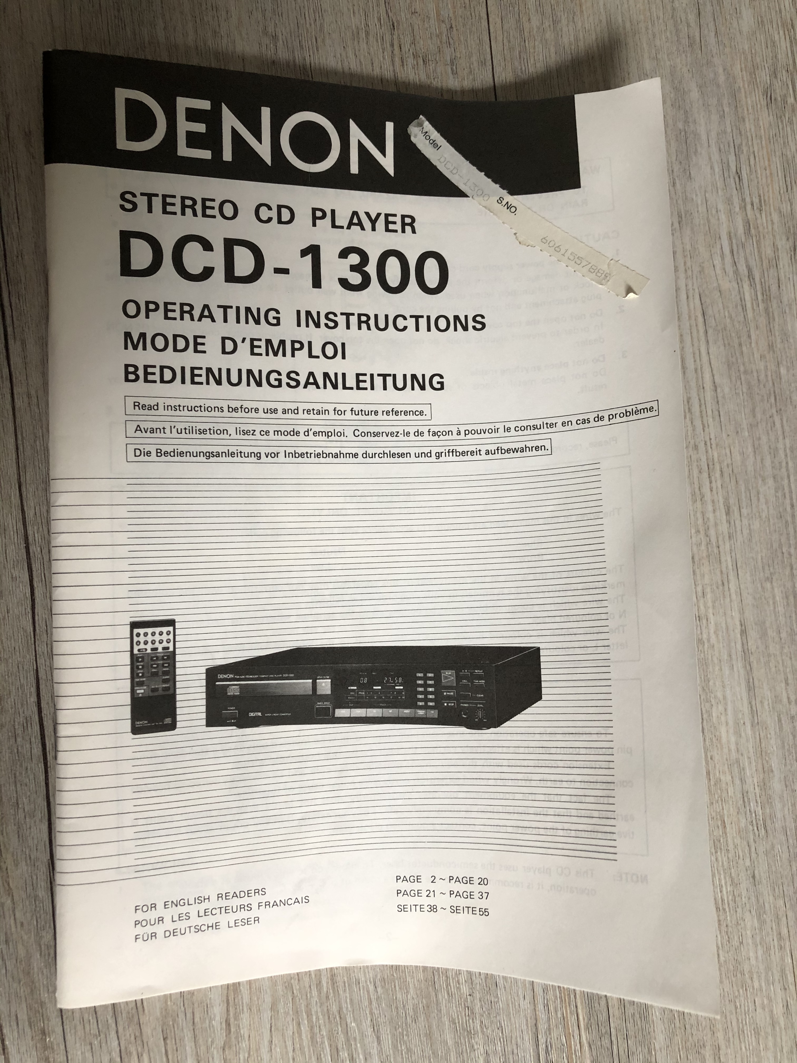 Denon DCD-1300 Manual