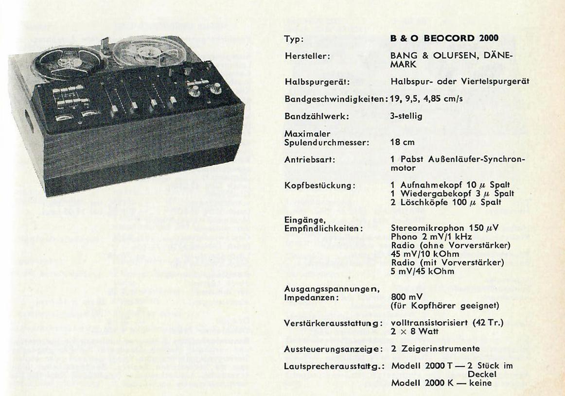Bang  U0026 Olufsen Beocord 2000 De Luxe